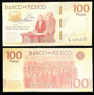 MEXICO 100 Pesos, 2017 Commemorative Anniversary of Constitution 1917, Crisp Unc
