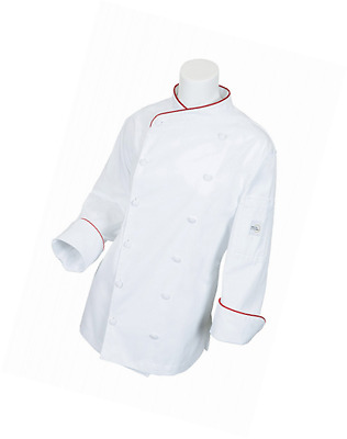 Mercer Culinary M62045WRM Renaissance Women's Scoop Neck Chef Jacket with Red Pi