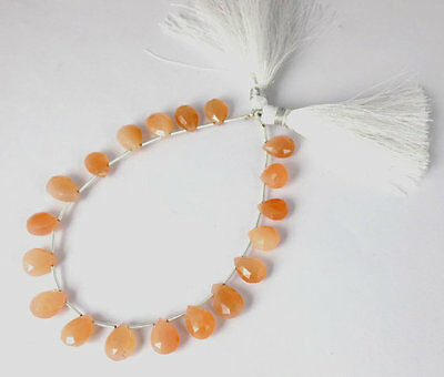 "1 Strand Natural Peach Moonstone Pear 8x10-8x12mm Briolette Beads 7"" Long Strand"