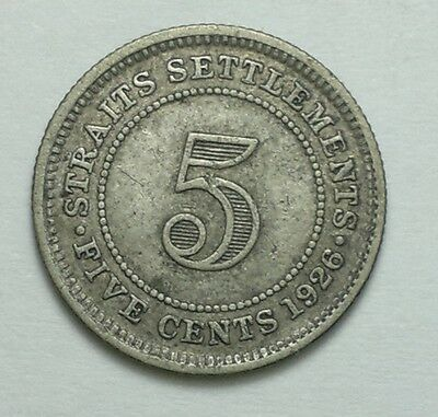1926 STRAITS SETTLEMENTS  5 CENTS silver coin