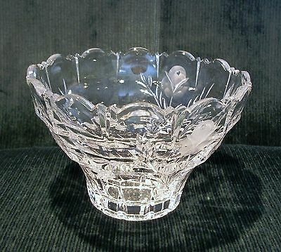Vintage 24% Lead Cut Clear & Etched Crystal Multi-Purpose Bowl - BEAUTIFUL!!!