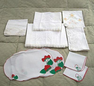 Vintage European Bed & Bath Linens & 2 Placemats with 2 Matching Napkins!!!