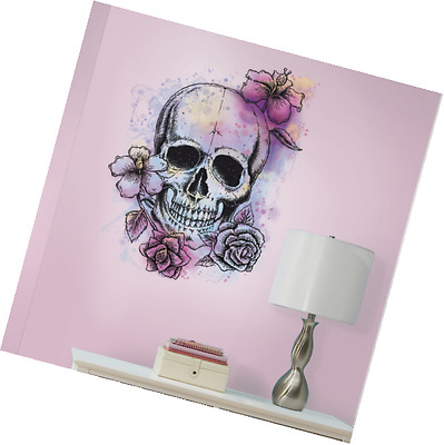 RoomMates RMK3056SLM Bright Floral Skull Peel and Stick Giant Wall Decal, 19.12-