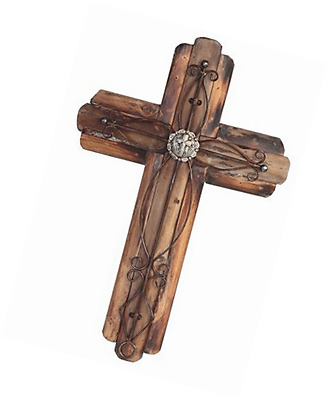 StealStreet SS-G-28287 20.5-Inch Decorative Wooden Wall Hanging Cross Statue Fig