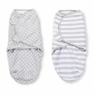 Summer Infant - Wrap Original Baby Swaddle Small Grey Dot Stripe 2Pk (Natural)