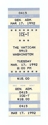 ICE-T Ticket 1992 Mar 17 The Vatican Houston Unused