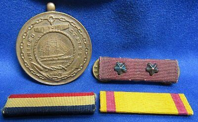 WWII Navy Good Conduct Medal, PUC and China Ribbon Bars Lot Of 4