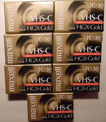 Lot of 7 Maxell TC-30 VHS-C Camcorder Tapes HGX-Gold (Premium/High Grade) NEW