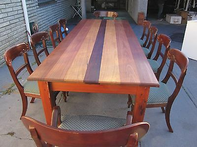 Handmade dining table and matching antique chairs