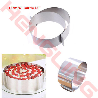 """Round DIY Stainless Steel Mousse Cake Ring Mold Slicer Cutter Adjustable 9""""-12"""""""