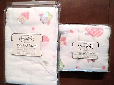 Bubba Blue Baby Girls Cotton/Muslin Hooded Towel & Washcloth Set Owls White/Pink