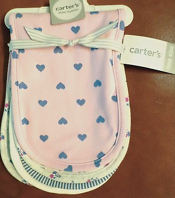 Carter's Baby Girls 4 Pack Cotton Burp Cloths Hearts/Stripes/Flowers Pink/Purple