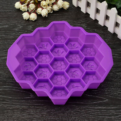 19 Cavity Silicone Bee Honeycomb Cake Chocolate Soap Candle Bakeware Mould Hot