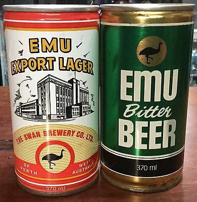 Emu Export Lager & Emu Bitter. 370ml.C/S Steel Collector Cans x 2