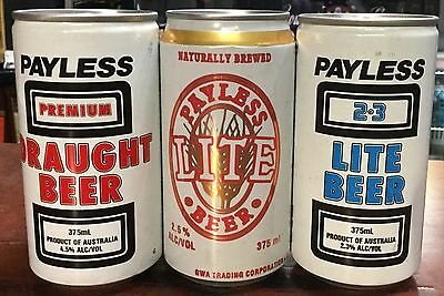 Payless .375ml.Collector Beer Cans x 3