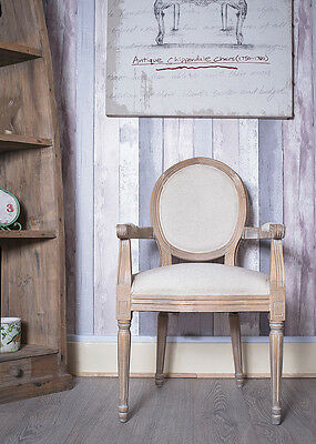 French Louis Armchair Oak Oatmeal Shabby Chic Antique Style Bedroom Hall Chair