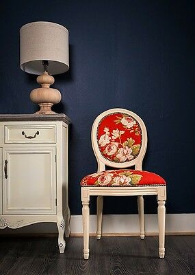 French Louis Side Chair White Red Floral Antique Dressing  Bedroom Dining