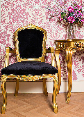 French Louis Armchair Gold Black Shabby Chic Bed Room Antique Style Bedroom