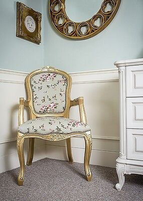 French Louis Armchair Gold Green Shabby Chic Antique Style Floral Bedroom Hall