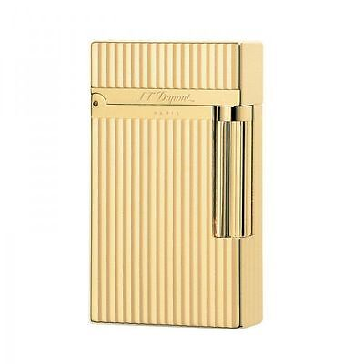 St Dupont Ligne 2 Yellow Finish Gold Lighter Vertical Lines Genuine