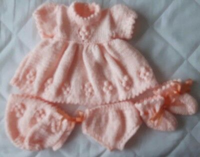 """Dolls Clothes New Hand Knitted 16"""" Peach Dress,Hat,Knickers & Booties"""