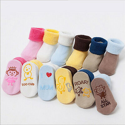 Cartoon Baby Stocking Thick Winter Cotton Solid Elastic Terry Antiskid sock SW
