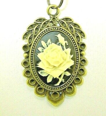 "New Lovely Antique-look Rose CAMEO  Bronze-tone Pendant 18"" - 20"" Black Necklace"