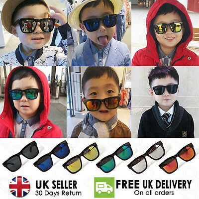 Kids Boys Girls Children Rectangular Classic Mirror Wayfarer Sunglasses UV400