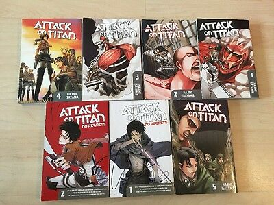Attack On Titan 1-5 No Regrets 1-2 (7 Manga In Total)