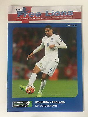 FREE LIONS LITHUANIA v ENGLAND FOOTBALL PROGRAMME 12th OCTOBER 2015 ISSUE 142