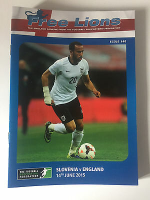 FREE LIONS SLOVENIA v ENGLAND FOOTBALL PROGRAMME 14th JUNE 2015 ISSUE 140