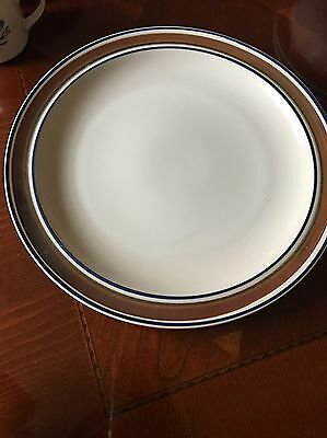 """1 Dinner Plates Salem Stoneware 12"""" GEORGETOWN Brown Blue Bands Rings USA"""