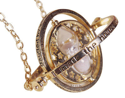 Harry Potter Time Turner Necklace Hermione Granger Hourglass Pendant Gold White
