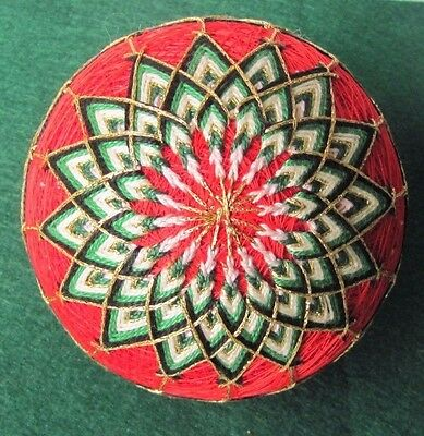 Temari Ball Handcrafted By Japanese Artist Christmas colors