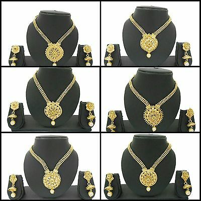 Indian Bollywood Fashion Jewelry Gold Plated Kundan Bridal Necklace Sets
