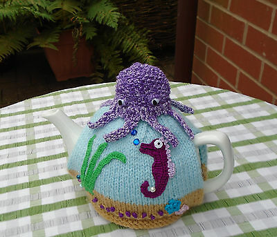 Hand Knitted Under The Sea Tea Cosy For A Medium Teapot With Octopus Egg Cosy