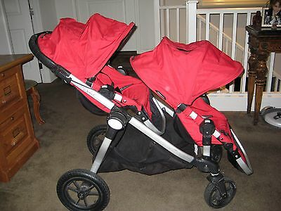 City Select Red Baby Jogger Double Seat Stroller with 2nd Seat SEE DETAILS