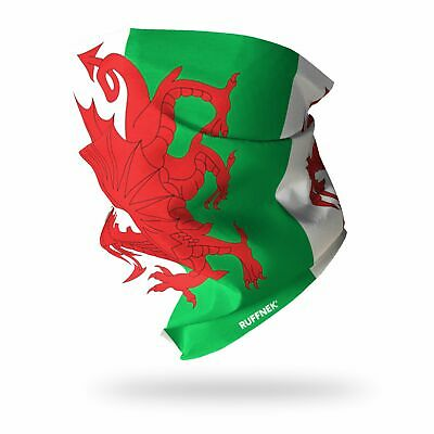 WELSH FLAG / Y DRAIG GOCH  - RUFFNEK® Multi Headwear Scarf/Neckwarmer/Headband