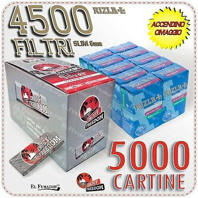 5000 Cartine ENJOY FREEDOM SILVER CORTE + 4500 Filtri RIZLA SLIM 6mm + ACCENDINO