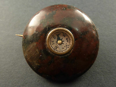Unusual Serpentine Marble Compass Brooch