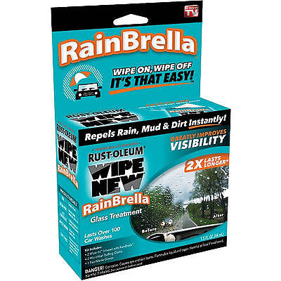 Rust-Oleum Wipe New RAINBRELLA GLASS TREATMENT Repels Rain, Mud, Dirt WINDSHIELD