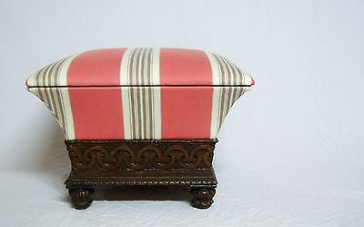 William Iv Carved Oak & Upholstered Ottoman Footstool Attributed To Thomas King