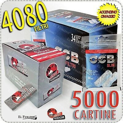 4080 Filtri OCB SLIM 6mm + 5000 Cartine ENJOY FREEDOM SILVER CORTE 100 Libretti