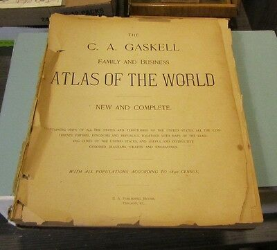 1890 Gaskell Family and Business Atlas of the World Great Antique Color Maps