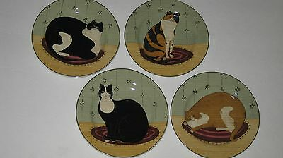 "Set of 4 WARREN KIMBLE SAKURA CAT COLLECTION 8"" PLATES"