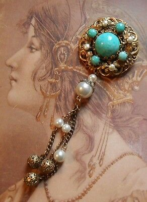 Superbe broche de col ancienne 1900 1920 pl. or perles turquoise pampilles