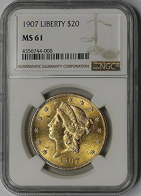 1907 Liberty Head Gold Double Eagle $20 MS 61 NGC