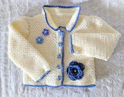 Cream & Blue Crocheted Toddler Cardigan Sweater w Flowers fits Size 12 - 18 mths