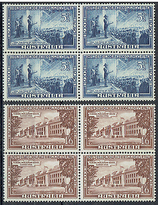 "AUSTRALIA 1951, Mint Blocks, 5½d & 1/6, ""FOUNDATION of the COMMONWEALTH"",   3587"