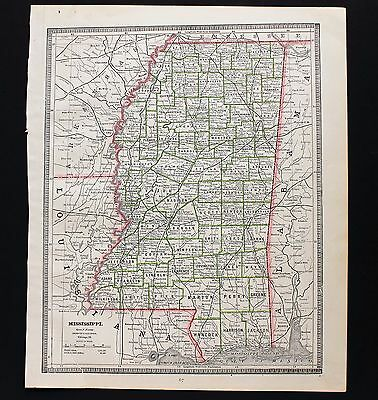 1885 Mississippi Map Bay St Louis Jackson Townships Railroads Counties ORIGINAL